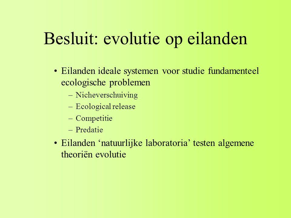 Besluit: evolutie op eilanden Eilanden ideale systemen voor studie fundamenteel ecologische problemen –Nicheverschuiving –Ecological release –Competitie –Predatie Eilanden 'natuurlijke laboratoria' testen algemene theoriën evolutie