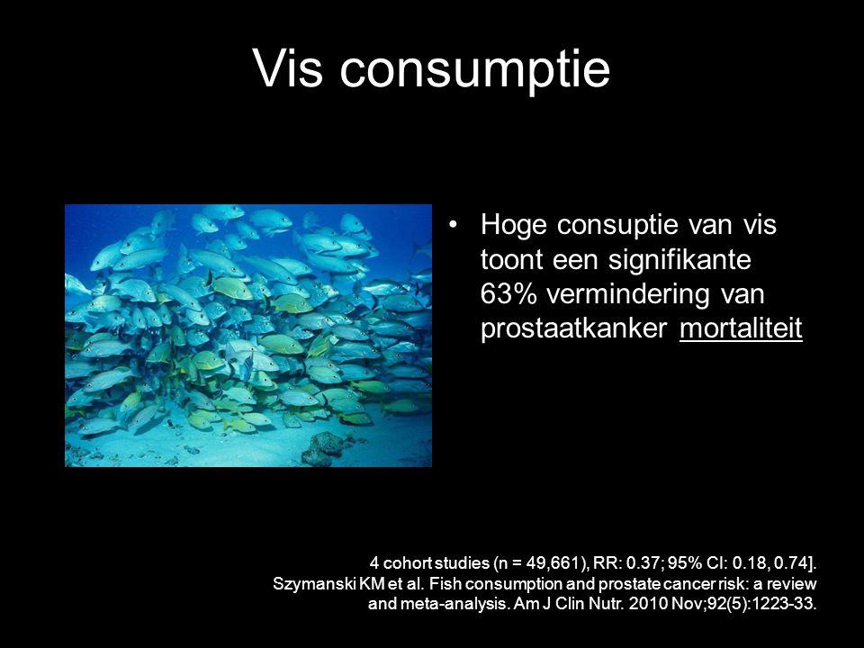 Vis consumptie Hoge consuptie van vis toont een signifikante 63% vermindering van prostaatkanker mortaliteit 4 cohort studies (n = 49,661), RR: 0.37; 95% CI: 0.18, 0.74].