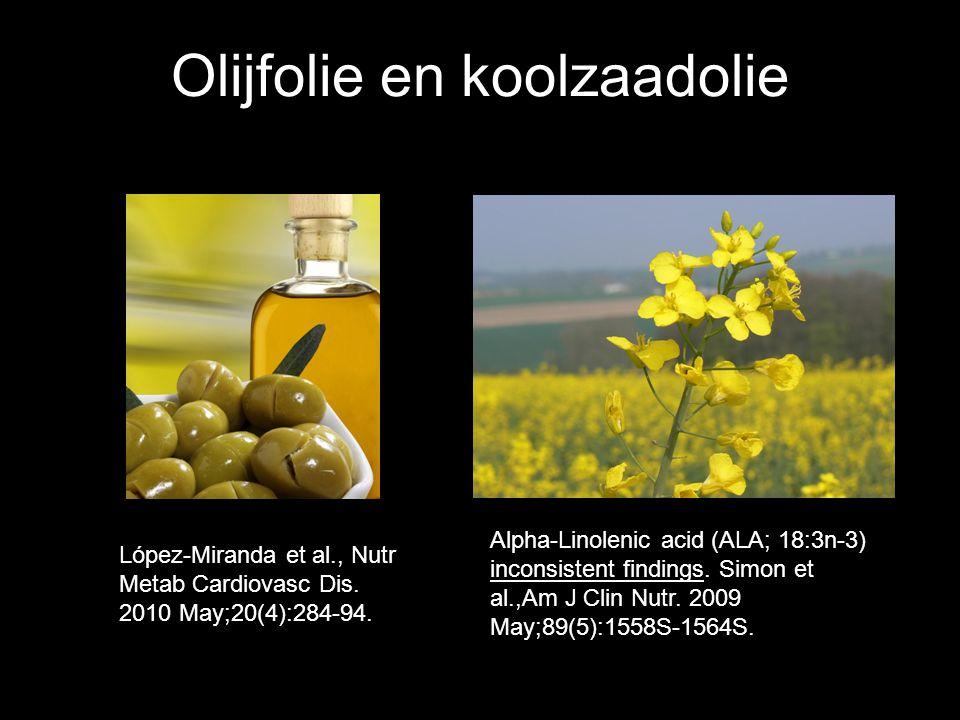Olijfolie en koolzaadolie Alpha-Linolenic acid (ALA; 18:3n-3) inconsistent findings. Simon et al.,Am J Clin Nutr. 2009 May;89(5):1558S-1564S. López-Mi