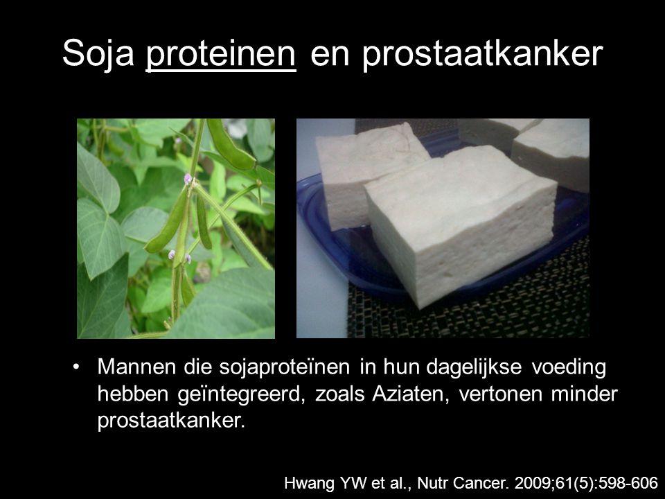 Soja proteinen en prostaatkanker Mannen die sojaproteïnen in hun dagelijkse voeding hebben geïntegreerd, zoals Aziaten, vertonen minder prostaatkanker