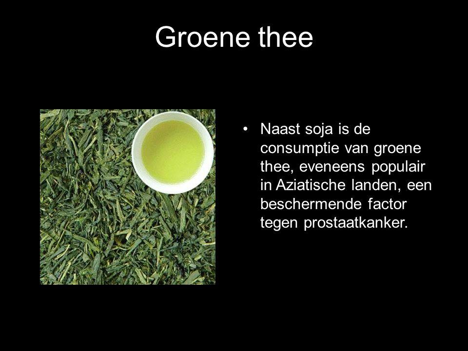 Groene thee Naast soja is de consumptie van groene thee, eveneens populair in Aziatische landen, een beschermende factor tegen prostaatkanker.