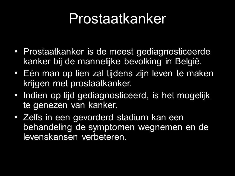 Prostaatkanker Prostaatkanker is de meest gediagnosticeerde kanker bij de mannelijke bevolking in België. Eén man op tien zal tijdens zijn leven te ma