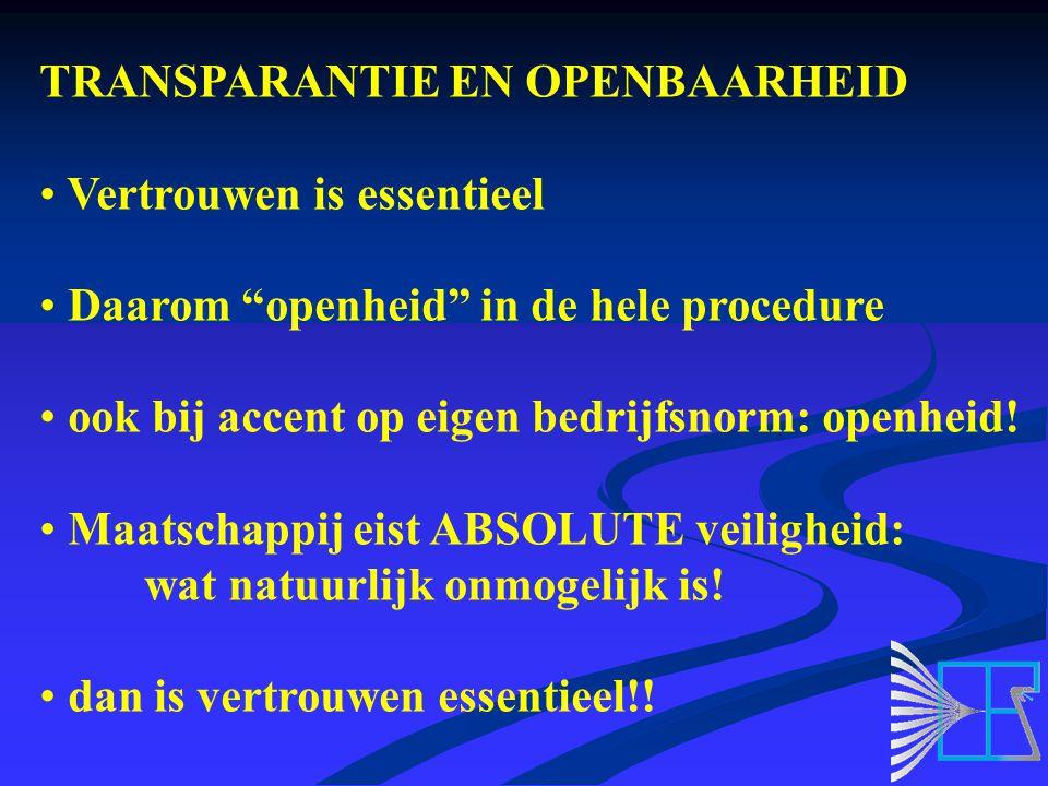 TRANSPARANTIE EN OPENBAARHEID Vertrouwen is essentieel Daarom openheid in de hele procedure ook bij accent op eigen bedrijfsnorm: openheid.