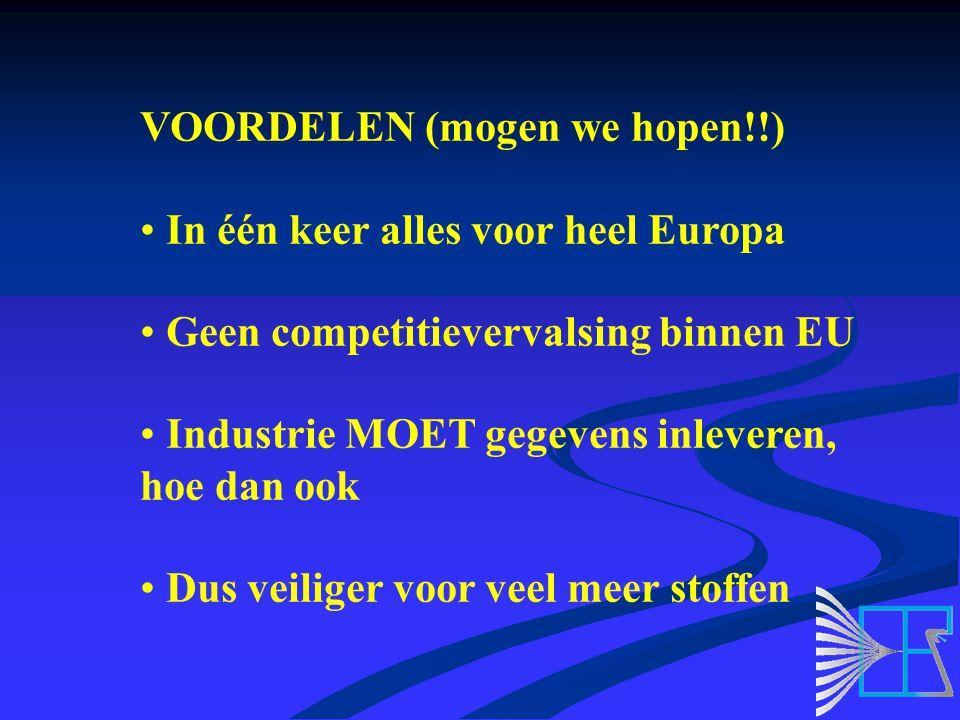 VOORDELEN (mogen we hopen!!) In één keer alles voor heel Europa Geen competitievervalsing binnen EU Industrie MOET gegevens inleveren, hoe dan ook Dus veiliger voor veel meer stoffen