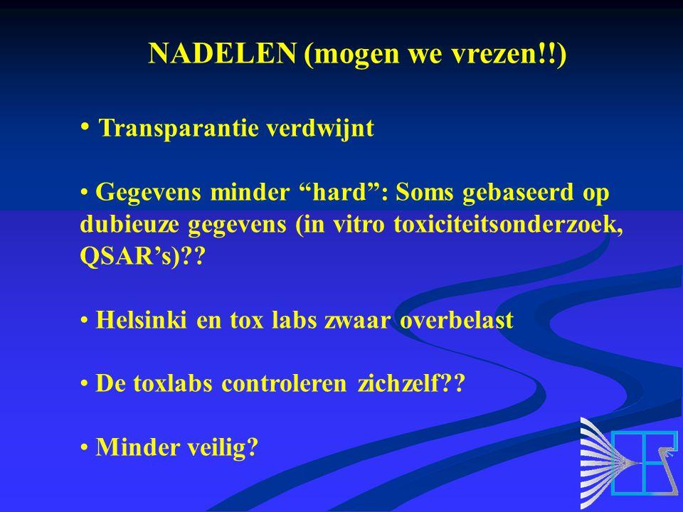 NADELEN (mogen we vrezen!!) Transparantie verdwijnt Gegevens minder hard : Soms gebaseerd op dubieuze gegevens (in vitro toxiciteitsonderzoek, QSAR's) .