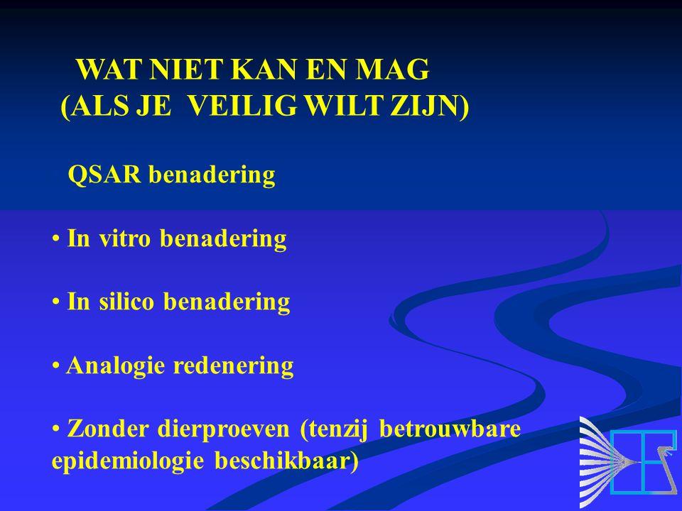 WAT NIET KAN EN MAG (ALS JE VEILIG WILT ZIJN) QSAR benadering In vitro benadering In silico benadering Analogie redenering Zonder dierproeven (tenzij