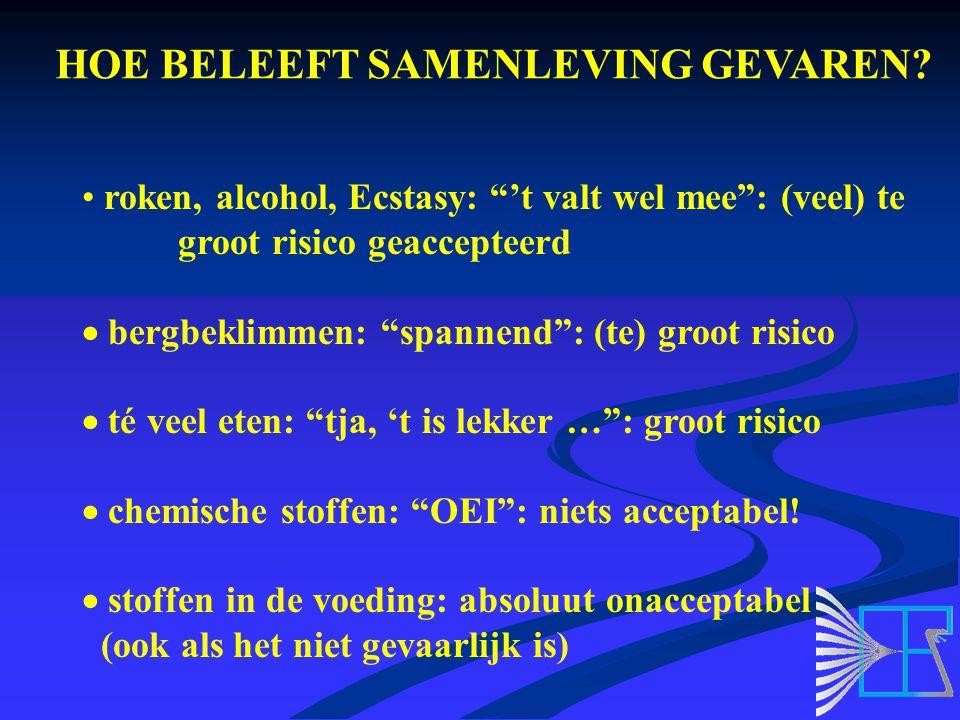 """HOE BELEEFT SAMENLEVING GEVAREN? roken, alcohol, Ecstasy: """"'t valt wel mee"""": (veel) te groot risico geaccepteerd  bergbeklimmen: """"spannend"""": (te) gro"""