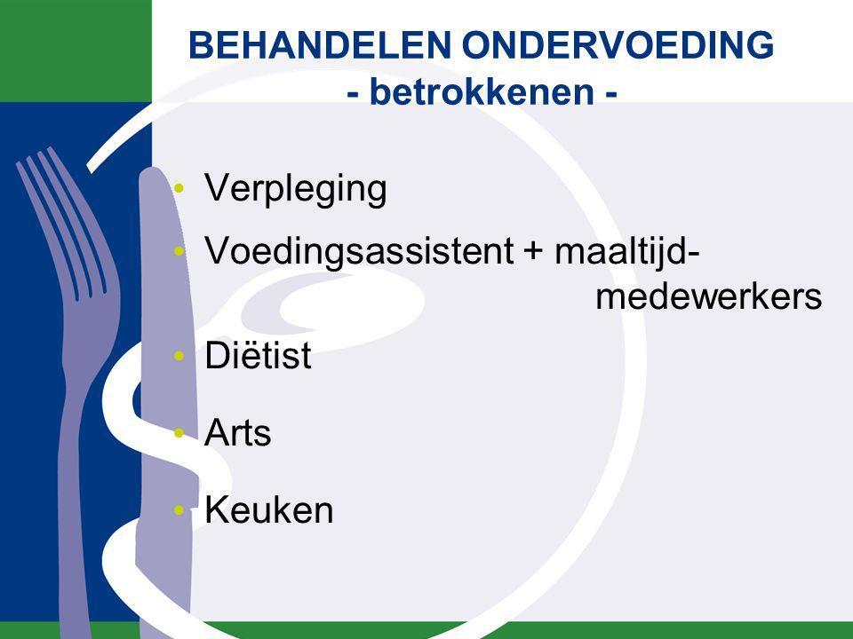 Verpleging Voedingsassistent + maaltijd- medewerkers Diëtist Arts Keuken BEHANDELEN ONDERVOEDING - betrokkenen -