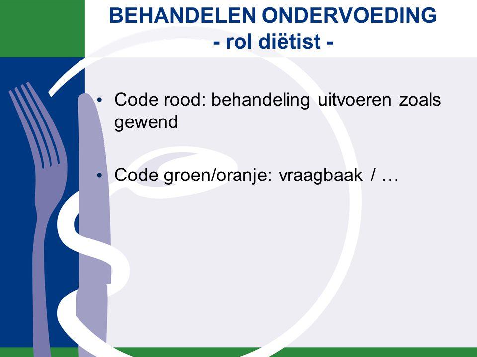 BEHANDELEN ONDERVOEDING - rol diëtist - Code rood: behandeling uitvoeren zoals gewend Code groen/oranje: vraagbaak / …