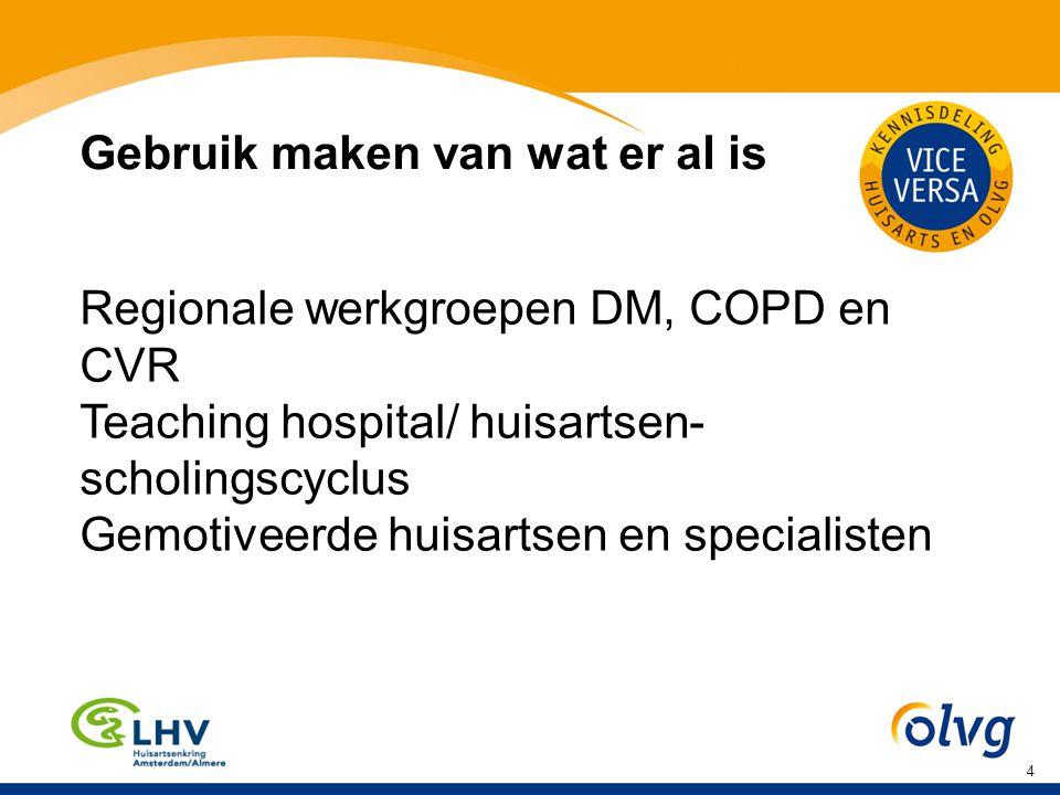4 Gebruik maken van wat er al is Regionale werkgroepen DM, COPD en CVR Teaching hospital/ huisartsen- scholingscyclus Gemotiveerde huisartsen en specialisten