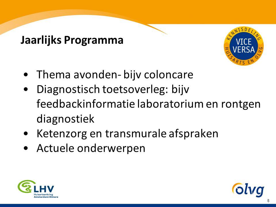 Jaarlijks Programma Thema avonden- bijv coloncare Diagnostisch toetsoverleg: bijv feedbackinformatie laboratorium en rontgen diagnostiek Ketenzorg en transmurale afspraken Actuele onderwerpen 8