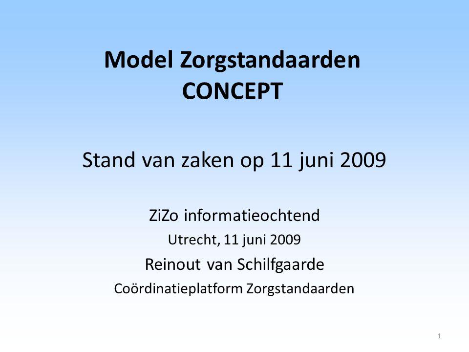 Model Zorgstandaarden CONCEPT Stand van zaken op 11 juni 2009 ZiZo informatieochtend Utrecht, 11 juni 2009 Reinout van Schilfgaarde Coördinatieplatfor