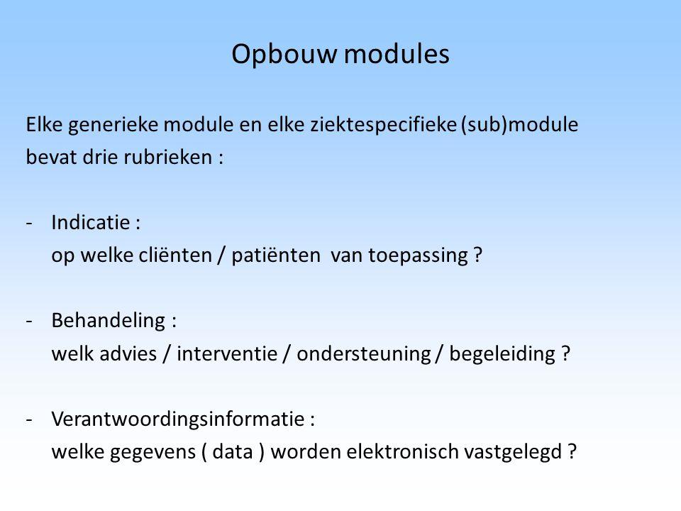 Opbouw modules Elke generieke module en elke ziektespecifieke (sub)module bevat drie rubrieken : -Indicatie : op welke cliënten / patiënten van toepas