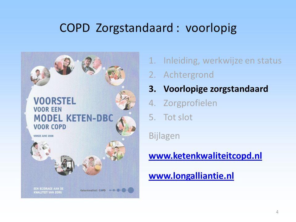 COPD Zorgstandaard : voorlopig 1.Inleiding, werkwijze en status 2.Achtergrond 3.Voorlopige zorgstandaard 4.Zorgprofielen 5.Tot slot Bijlagen www.keten