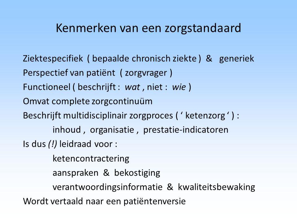 Kenmerken van een zorgstandaard Ziektespecifiek ( bepaalde chronisch ziekte ) & generiek Perspectief van patiënt ( zorgvrager ) Functioneel ( beschrij