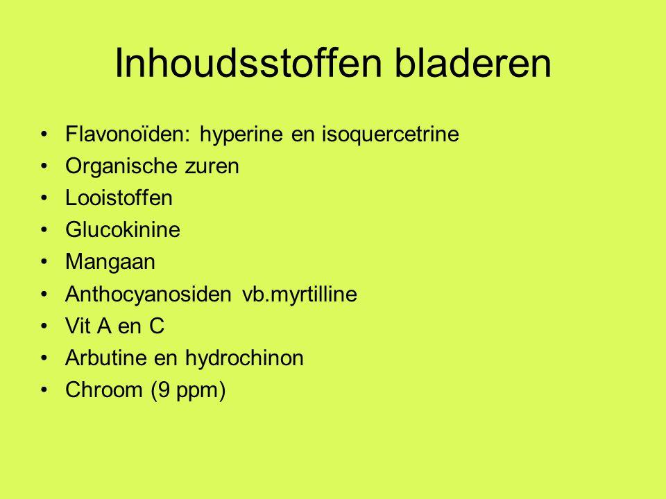 Inhoudsstoffen bladeren Flavonoïden: hyperine en isoquercetrine Organische zuren Looistoffen Glucokinine Mangaan Anthocyanosiden vb.myrtilline Vit A en C Arbutine en hydrochinon Chroom (9 ppm)