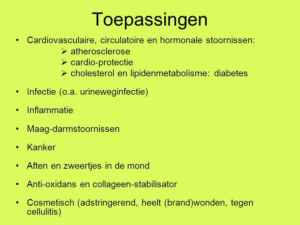 Toepassingen Cardiovasculaire, circulatoire en hormonale stoornissen:  atherosclerose  cardio-protectie  cholesterol en lipidenmetabolisme: diabetes Infectie (o.a.