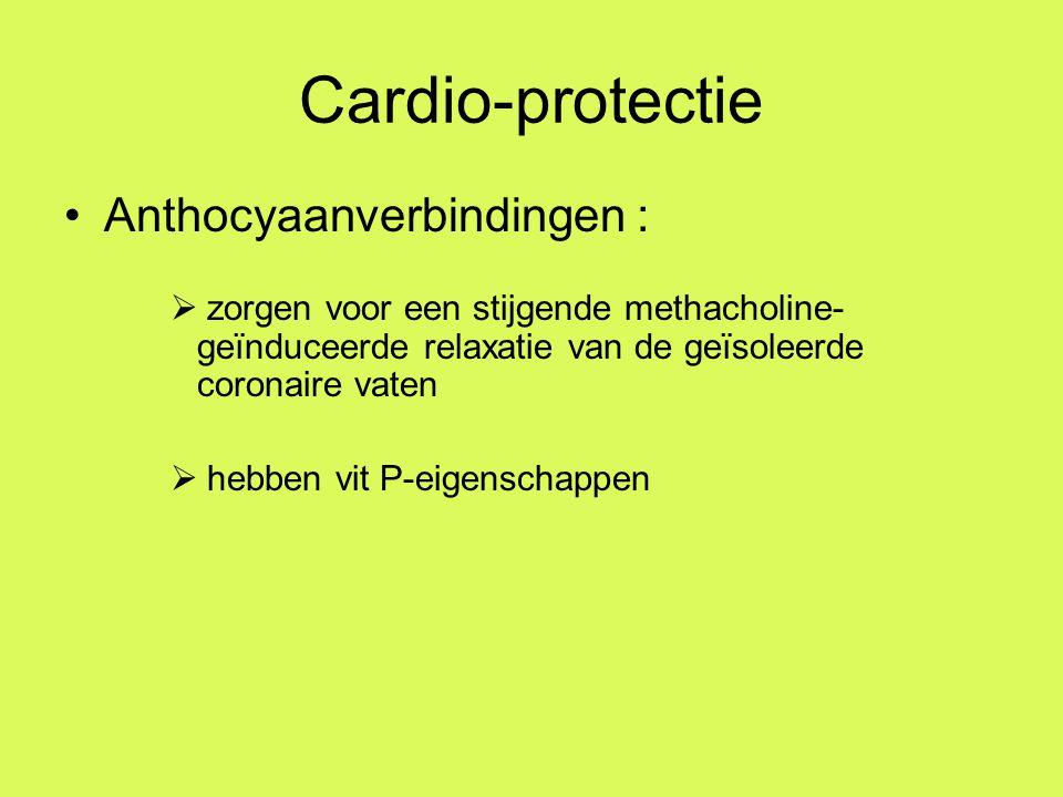 Cardio-protectie Anthocyaanverbindingen :  zorgen voor een stijgende methacholine- geïnduceerde relaxatie van de geïsoleerde coronaire vaten  hebben vit P-eigenschappen