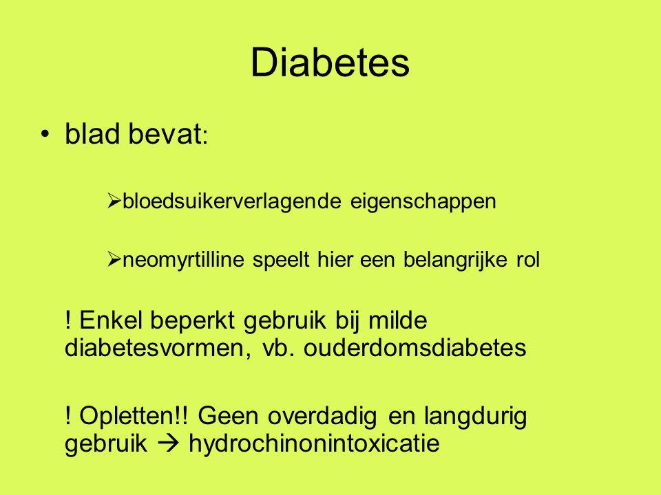 Diabetes blad bevat :  bloedsuikerverlagende eigenschappen  neomyrtilline speelt hier een belangrijke rol .