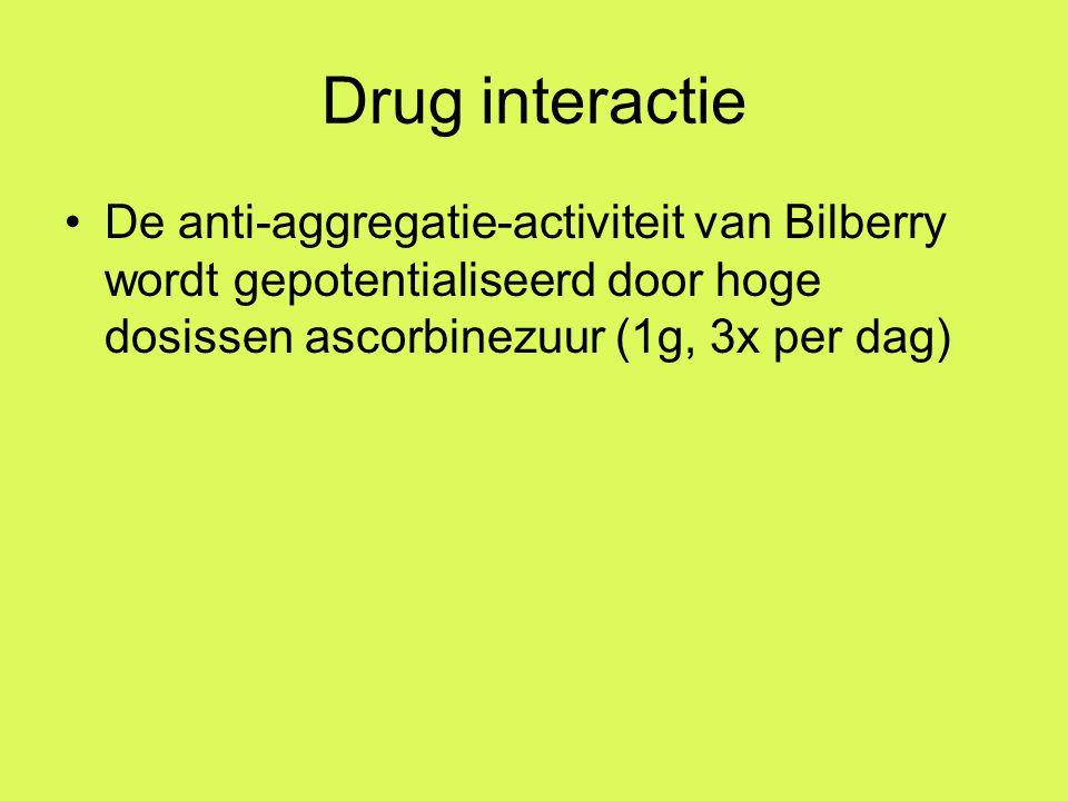Drug interactie De anti-aggregatie-activiteit van Bilberry wordt gepotentialiseerd door hoge dosissen ascorbinezuur (1g, 3x per dag)