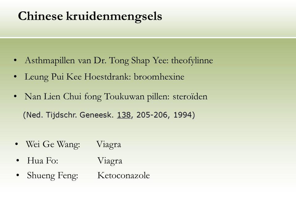 Chinese kruidenmengsels Asthmapillen van Dr. Tong Shap Yee: theofylinne Leung Pui Kee Hoestdrank: broomhexine Nan Lien Chui fong Toukuwan pillen: ster