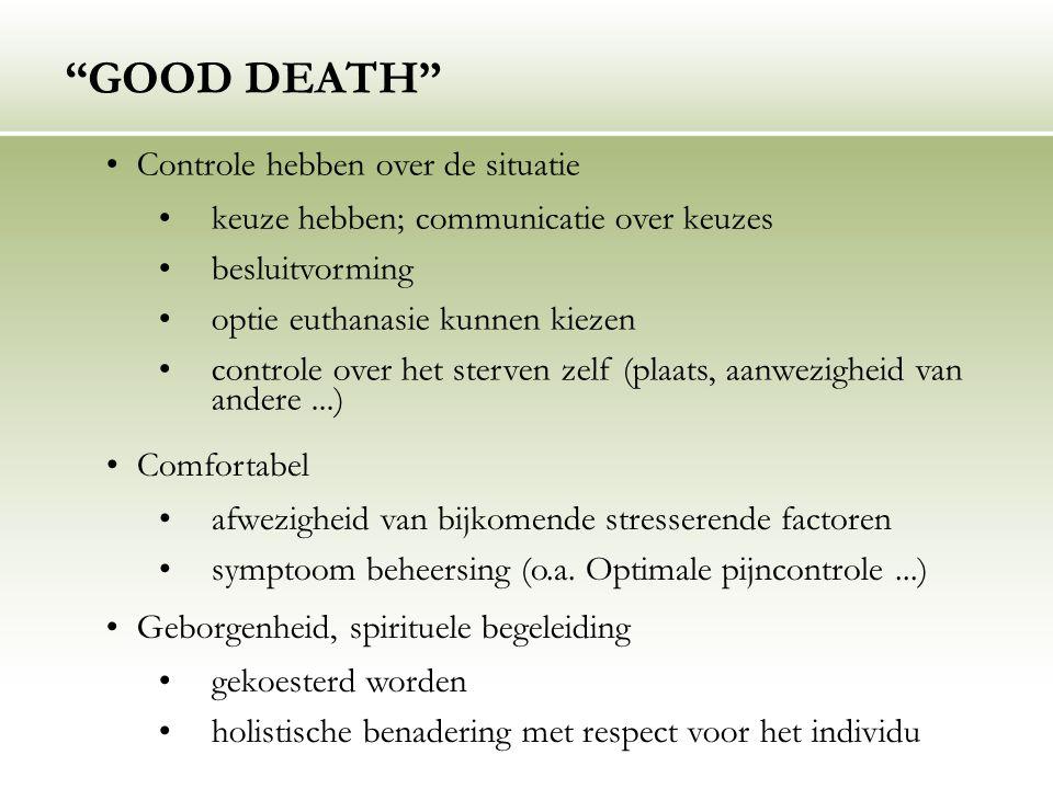 """""""GOOD DEATH"""" Controle hebben over de situatie keuze hebben; communicatie over keuzes besluitvorming optie euthanasie kunnen kiezen controle over het s"""