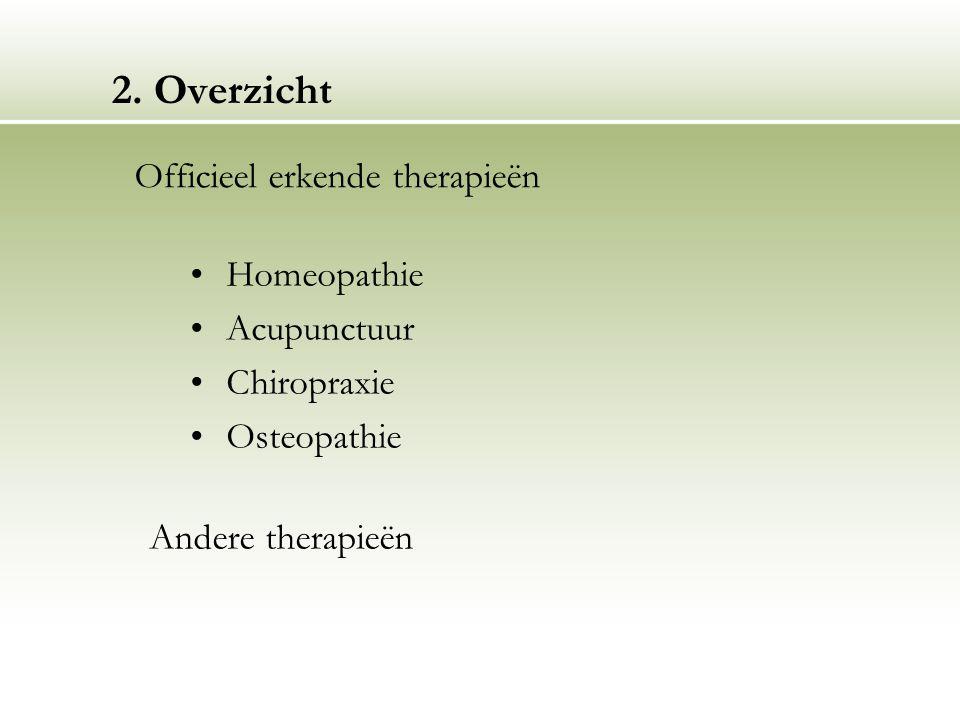 2. Overzicht Homeopathie Acupunctuur Chiropraxie Osteopathie Officieel erkende therapieën Andere therapieën