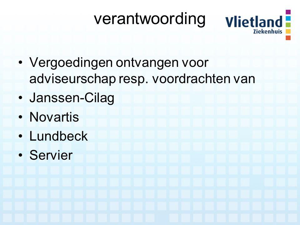 verantwoording Vergoedingen ontvangen voor adviseurschap resp. voordrachten van Janssen-Cilag Novartis Lundbeck Servier