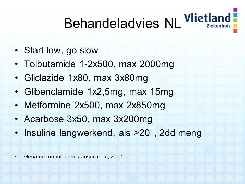 Behandeladvies NL Start low, go slow Tolbutamide 1-2x500, max 2000mg Gliclazide 1x80, max 3x80mg Glibenclamide 1x2,5mg, max 15mg Metformine 2x500, max
