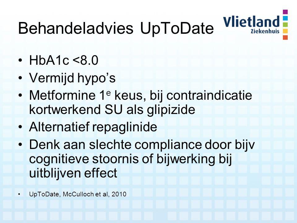 Behandeladvies UpToDate HbA1c <8.0 Vermijd hypo's Metformine 1 e keus, bij contraindicatie kortwerkend SU als glipizide Alternatief repaglinide Denk a