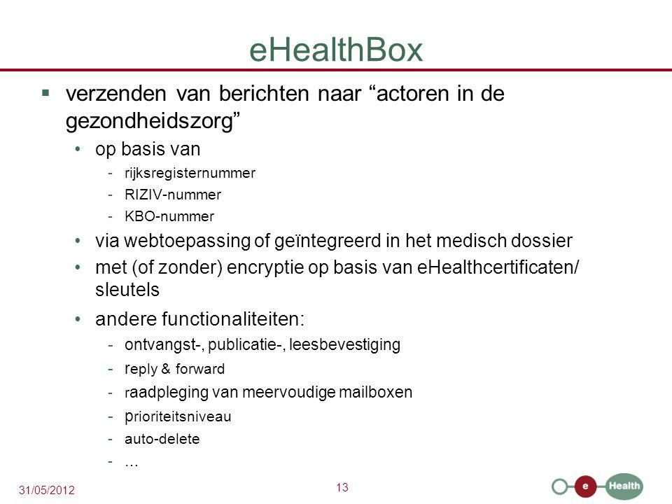 13 31/05/2012 eHealthBox  verzenden van berichten naar actoren in de gezondheidszorg op basis van -rijksregisternummer -RIZIV-nummer -KBO-nummer via webtoepassing of geïntegreerd in het medisch dossier met (of zonder) encryptie op basis van eHealthcertificaten/ sleutels andere functionaliteiten: -ontvangst-, publicatie-, leesbevestiging -r eply & forward -r aadpleging van meervoudige mailboxen -p rioriteitsniveau -auto-delete -…