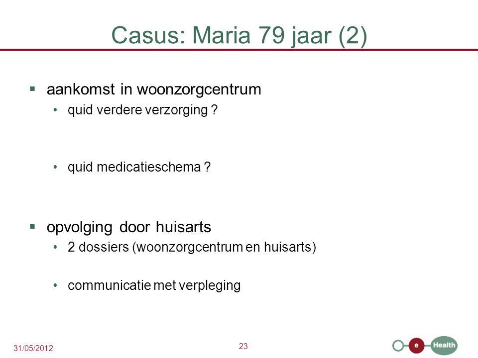 23 31/05/2012 Casus: Maria 79 jaar (2)  aankomst in woonzorgcentrum quid verdere verzorging .