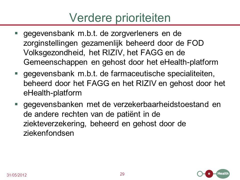29 31/05/2012 Verdere prioriteiten  gegevensbank m.b.t.