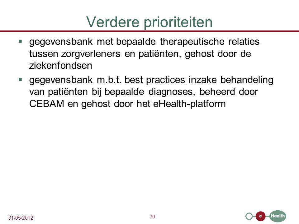 30 31/05/2012 Verdere prioriteiten  gegevensbank met bepaalde therapeutische relaties tussen zorgverleners en patiënten, gehost door de ziekenfondsen  gegevensbank m.b.t.