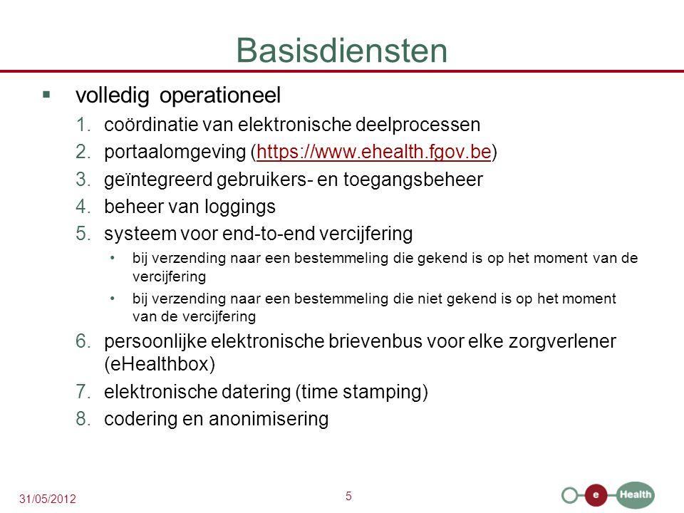 5 31/05/2012 Basisdiensten  volledig operationeel 1.coördinatie van elektronische deelprocessen 2.portaalomgeving (https://www.ehealth.fgov.be)https://www.ehealth.fgov.be 3.geïntegreerd gebruikers- en toegangsbeheer 4.beheer van loggings 5.systeem voor end-to-end vercijfering bij verzending naar een bestemmeling die gekend is op het moment van de vercijfering bij verzending naar een bestemmeling die niet gekend is op het moment van de vercijfering 6.persoonlijke elektronische brievenbus voor elke zorgverlener (eHealthbox) 7.elektronische datering (time stamping) 8.codering en anonimisering