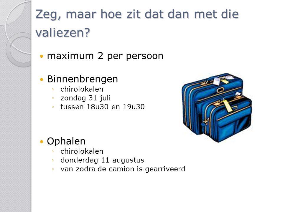 Zeg, maar hoe zit dat dan met die valiezen? maximum 2 per persoon Binnenbrengen ◦chirolokalen ◦zondag 31 juli ◦tussen 18u30 en 19u30 Ophalen ◦chirolok