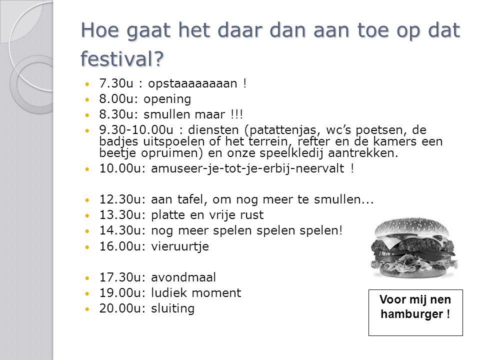 Hoe gaat het daar dan aan toe op dat festival? 7.30u : opstaaaaaaaan ! 8.00u: opening 8.30u: smullen maar !!! 9.30-10.00u : diensten (patattenjas, wc'