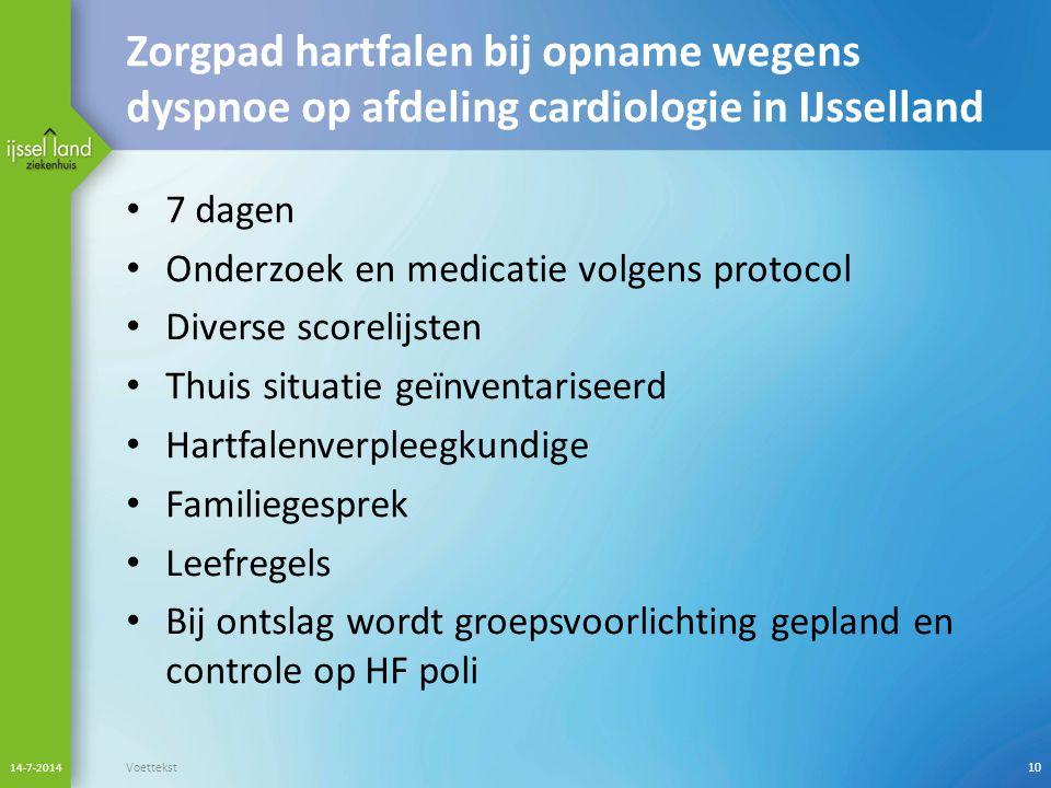 Zorgpad hartfalen bij opname wegens dyspnoe op afdeling cardiologie in IJsselland 7 dagen Onderzoek en medicatie volgens protocol Diverse scorelijsten