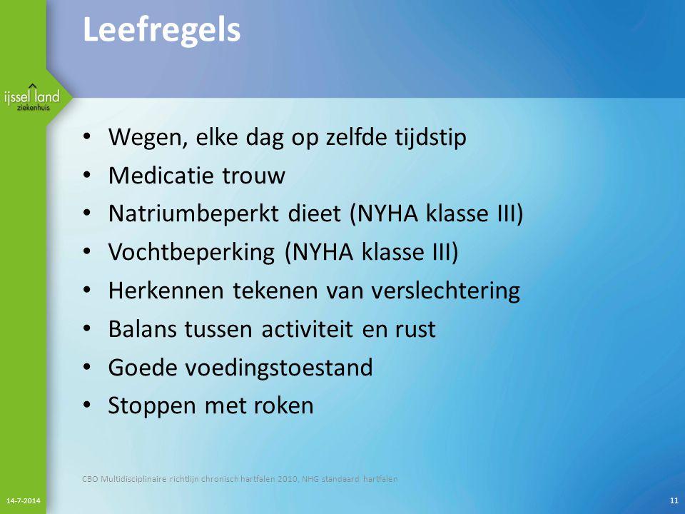 Leefregels Wegen, elke dag op zelfde tijdstip Medicatie trouw Natriumbeperkt dieet (NYHA klasse III) Vochtbeperking (NYHA klasse III) Herkennen tekene