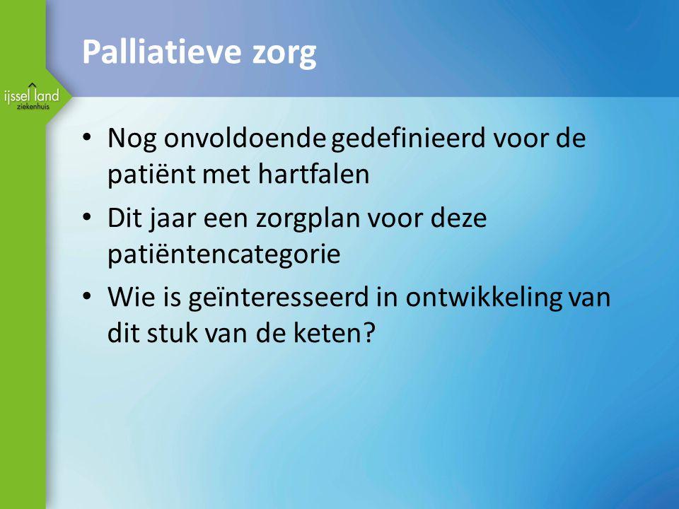 Palliatieve zorg Nog onvoldoende gedefinieerd voor de patiënt met hartfalen Dit jaar een zorgplan voor deze patiëntencategorie Wie is geïnteresseerd i