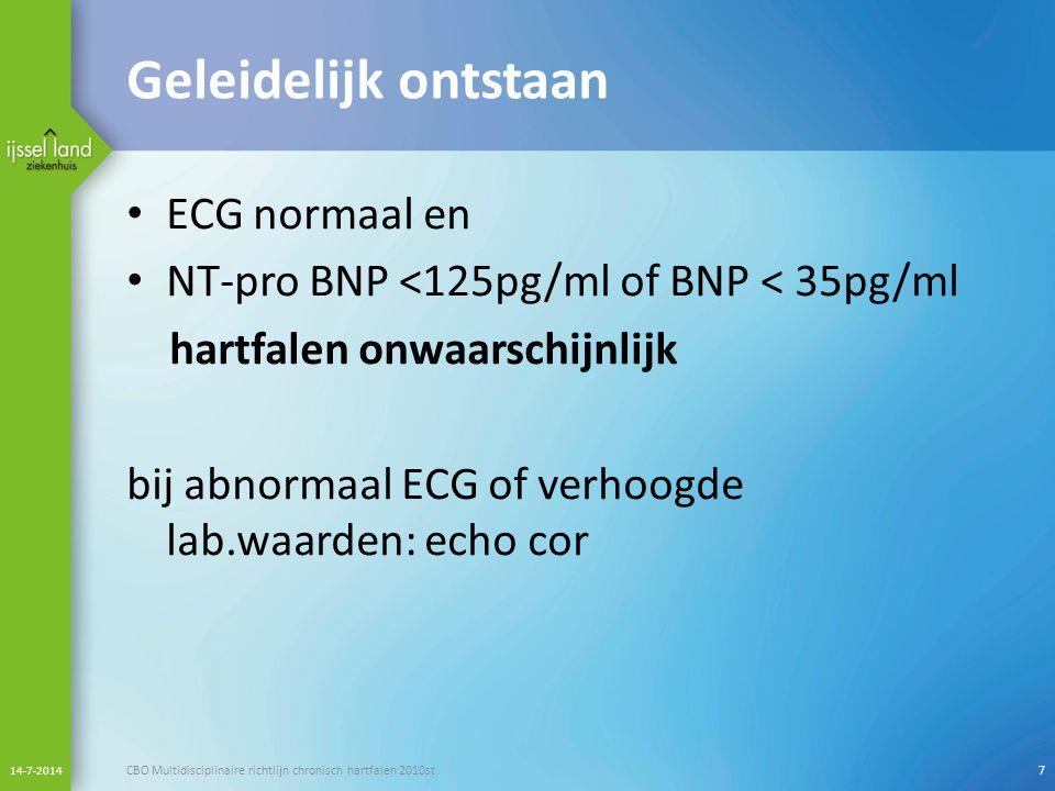 Geleidelijk ontstaan ECG normaal en NT-pro BNP <125pg/ml of BNP < 35pg/ml hartfalen onwaarschijnlijk bij abnormaal ECG of verhoogde lab.waarden: echo