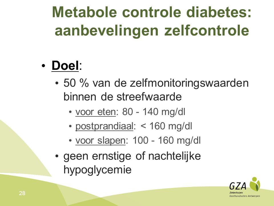 28 Metabole controle diabetes: aanbevelingen zelfcontrole Doel: 50 % van de zelfmonitoringswaarden binnen de streefwaarde voor eten: 80 - 140 mg/dl postprandiaal: < 160 mg/dl voor slapen: 100 - 160 mg/dl geen ernstige of nachtelijke hypoglycemie