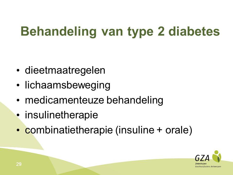 29 Behandeling van type 2 diabetes dieetmaatregelen lichaamsbeweging medicamenteuze behandeling insulinetherapie combinatietherapie (insuline + orale)