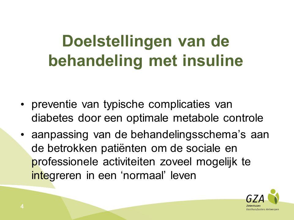 4 Doelstellingen van de behandeling met insuline preventie van typische complicaties van diabetes door een optimale metabole controle aanpassing van de behandelingsschema's aan de betrokken patiënten om de sociale en professionele activiteiten zoveel mogelijk te integreren in een 'normaal' leven