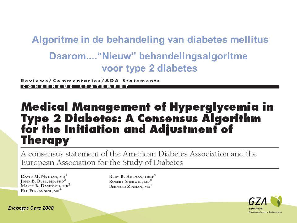 """5 Daarom....""""Nieuw"""" behandelingsalgoritme voor type 2 diabetes Diabetes Care 2008 Algoritme in de behandeling van diabetes mellitus"""
