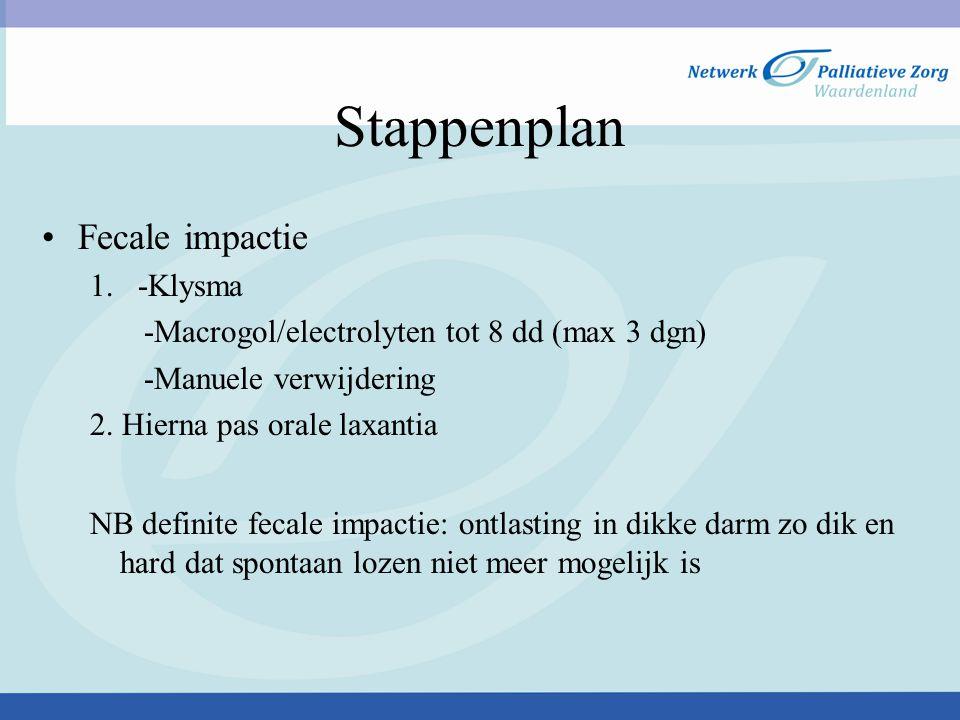 Stappenplan Fecale impactie 1. -Klysma -Macrogol/electrolyten tot 8 dd (max 3 dgn) -Manuele verwijdering 2. Hierna pas orale laxantia NB definite feca
