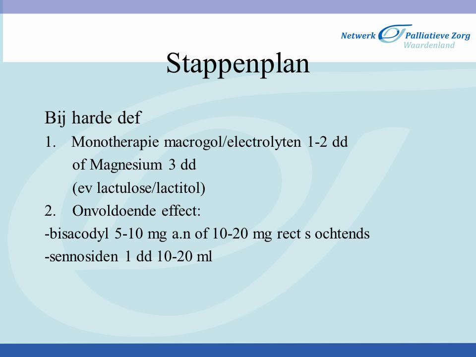Stappenplan Bij harde def 1.Monotherapie macrogol/electrolyten 1-2 dd of Magnesium 3 dd (ev lactulose/lactitol) 2. Onvoldoende effect: -bisacodyl 5-10