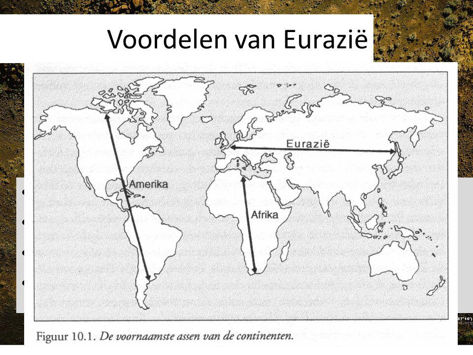 Aantal gedomesticeerde soorten 14 grote landzoogdieren zijn gedomesticeerd 13 kwamen er in Eurazië voor Dieren die gedomesticeerd konden worden waren in Noord en Zuid Amerika waren al door de mens uitgeroeid.