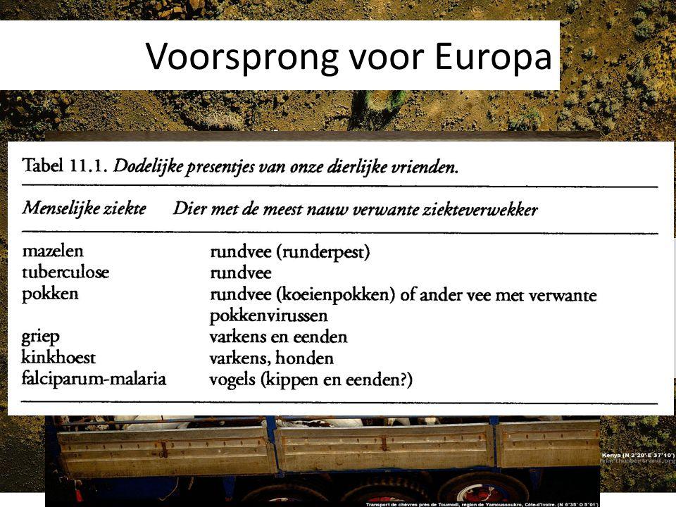 Voorsprong voor Europa Grotere bevolkingsconcentratie Dieren met militaire mogelijkheden Vee zorgt voor ziekten!