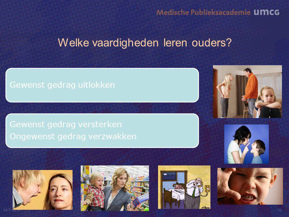 Welke vaardigheden leren ouders? 14-7-2014 10 Gewenst gedrag uitlokken Gewenst gedrag versterken Ongewenst gedrag verzwakken